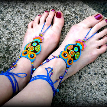 Psychedelic Owl Barefoot Sandals - Handmade Bohemian Cotton Fabric Jewelry - L3 Model