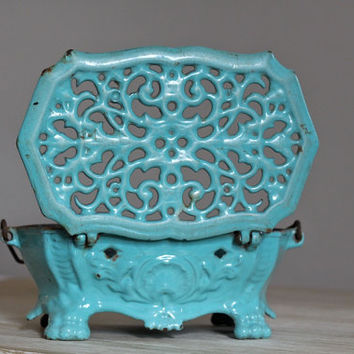 Rare Parisian Antique Enamel French Foot Warmer Food Warmer Candle Holder