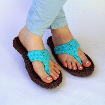 Turquoise Crochet Flip Flops Sandals, Turquoise Barefoot Sandals, Decorated Flip Flops, Womens Flip Flop Sandals, Blue Hawaii Flip Flops