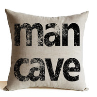 Man Cave Decor Oatmeal Linen Pillow Cases Couch Cushion Gift for Him Bachelor Pad Decor Housewarming Present Host Gift All Sizes Dorm Decor