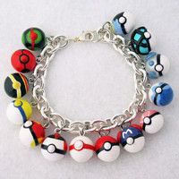 CYBER MONDAY Limited Time  Custom Pokeball Bracelet  Your Choice of 7 Pokeball Charms