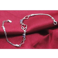 ZLYC Women's Delicate Sterling Silver S925 Double Heart Linked Chain Bracelet with Crystal
