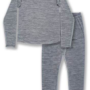 Trimfit Boys Space Dye Long-Sleeve w/Thumbholes Thermal Long Underwear Set, Grey