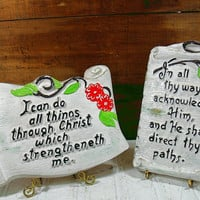 Vintage Bible Quotes Scroll Look ChalkWare Prayer Plaque Pair - Retro Plaster Christian Art Set - Early Three Dimensional Religious Relief