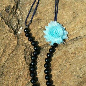 Black Single Strand Beaded Necklace, Long Boho Jewelry, Blue Flower, Simple Chic, Slip On, Long 32 inch