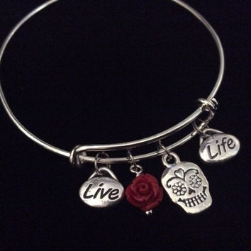 Sugar Skull Red Rose Live Life Silver Expandable Charm Bracelet Halloween Costume Hostess Gift Adjustable Wire Trendy Stackable Bangle Goth