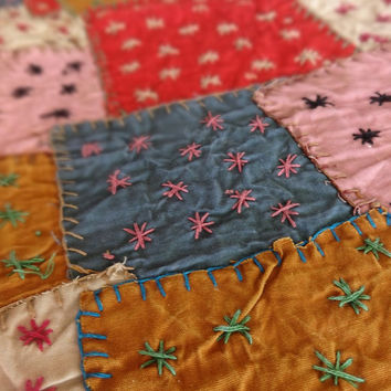Handmade Patchwork Bedspread, Patchwork with Hand Embroidery, Multicolor Cotton Bedcover, Cotton Quilt, Bedroom Decor,Multicolor Patches