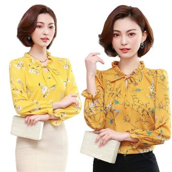 Women Blouses Long Sleeve 2018 Autumn Womens Tops And Blouses Work Wear Printed Floral Chiffon Shirts Office Blusa Feminina E231