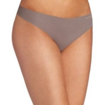 Calvin Klein Women's Invisibles Thong Panty, French Roast, Medium