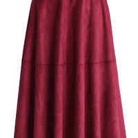 Faux Suede Midi Skirt in Berry Red