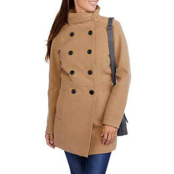 Women's Faux Wool Double-Breasted Peacoat with Stand Collar