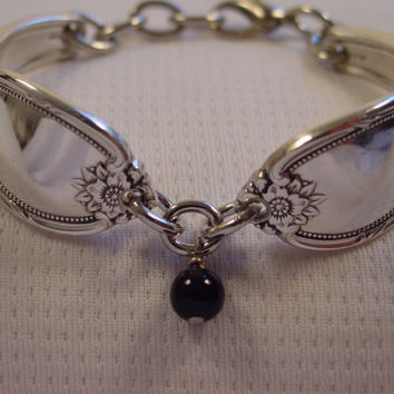 A Beautiful SMALL Spoon Bracelet Remembrance Pattern With Black Bead Vintage Spoon and Fork Jewelry