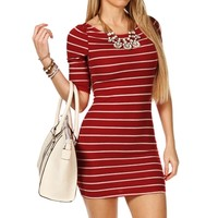 Cranberry/Oatmeal Stripe Tunic