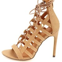 Strappy Caged Lace-Up Heels