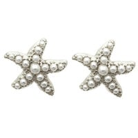 Mini Pearl Starfish Earrings - Silver