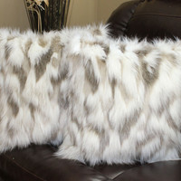 Faux Fur Tibetan Sand Fox Ivory Beige Pillow Cover 18 x 18 in - Set of 2