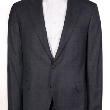 Brunello Cucinelli Dark Grey Chambray Wool Blend Suit Jacket