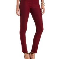Burgundy High-Waisted Skinny Pants by Charlotte Russe