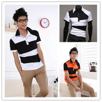 Men's Contrast Color Strip Short Sleeve Polo Shirts by martEnvy
