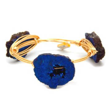 The Magic Bangle: Blue Druzy & Gold Plated