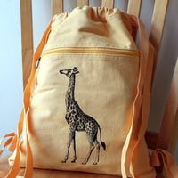Giraffe Screen Printed Canvas Backpack by catbirdcreatures on Etsy