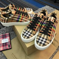 Burberry rainbow colorful grain casual shoes HIGH QUALITY