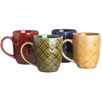 Signature Housewares Coffee and Tea Mugs, Textured Lattice, Set of 4