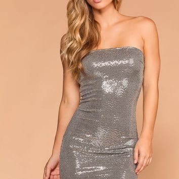 Shimmer Shimmer Silver Bodycon Dress