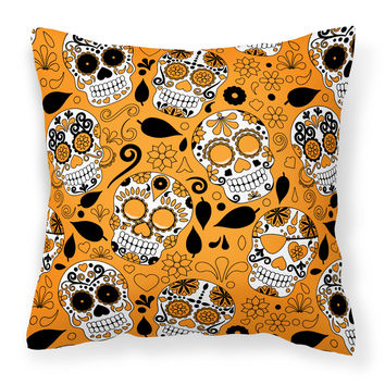 Day of the Dead Orange Fabric Decorative Pillow BB5118PW1818