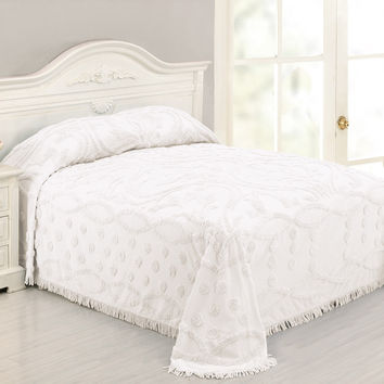 Queen size 100 Percent Cotton Chenille Bedspread in White Damask Pattern