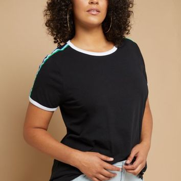 Plus Black Rainbow Striped Sleeve Ringer Tee