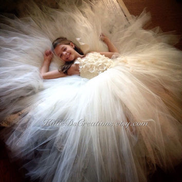 Ivory Lace Double Tulle Tutu Flower Girl Dress with Removable Train / Pageant Dress / Junior Bridesmaid Dress