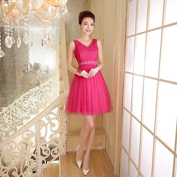 ZX528MH#The company will host annual spring summer 2016 fashion short prom new bride toast bridesmaid dress Rose