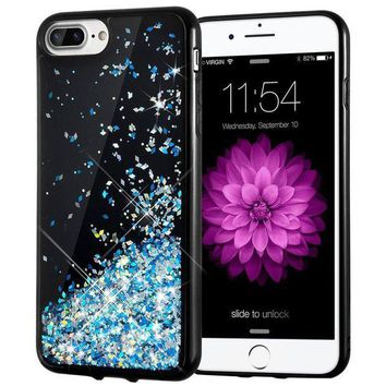 ESBONG6 iPhone 7 Plus Case, Caka [Starry Night Series] Bling Flowing Floating Luxury Liquid Sparkle TPU Bumper Glitter Case for iPhone 6 Plus/6S Plus/7 Plus/8 Plus (5.5 inch) - (Blue)