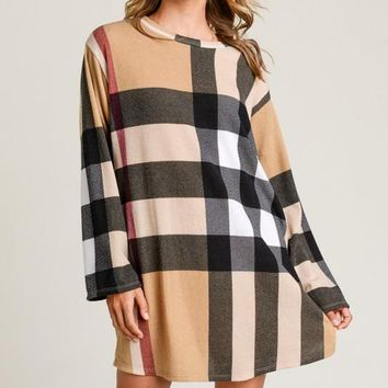 Jodifl plaid long sleeve dress with pockets
