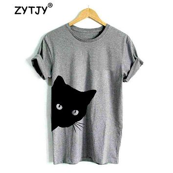 cat looking out side Print Women tshirt Cotton Casual Funny t shirt For Lady Girl