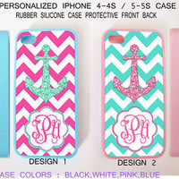 CUSTOM PERSONALIZED MINT PINK CHEVRON ANCHOR MONOGRAM CASE FOR IPHONE 6S 6 SE 5S