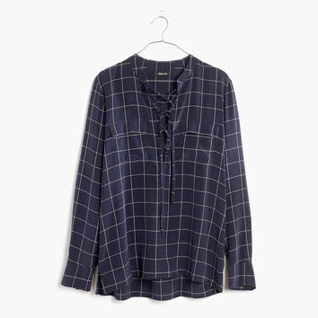 Silk Lace-Up Shirt in Windowpane Plaid : shopmadewell tops & blouses | Madewell