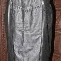 Vintage 1980s Black + Leather Pencil Skirt