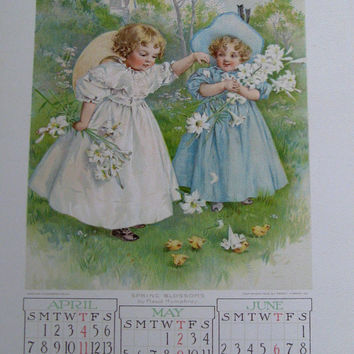 Youth's Companion Advertising Calendar by Thomas Moran and Maud Humphrey Bogart with H. Giacomelli and F. Luis Mora from 1907