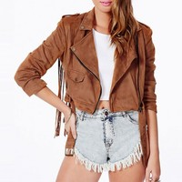 Fringed Suede Crop Jacket