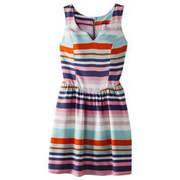 Xhilaration® Juniors Half Zip Tie Back Fit and Flare Dress - Assorted Colors and Prints