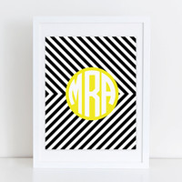 Circle Monogram Print Black White and Yellow Bedroom Artwork Personalized Initial Print Gallery Wall Art Nursery Artwork Girls Office Decor