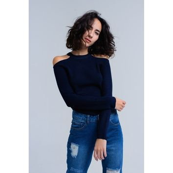 Navy sweater with cold shoulder