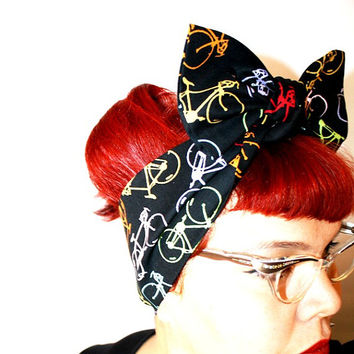 Vintage Inspired Head scarf, Black with Neon Bikes, Retro