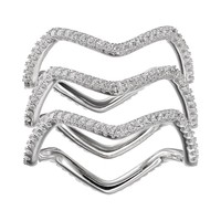 Cubic Zirconia Sterling Silver Wavy Ring Set (White)