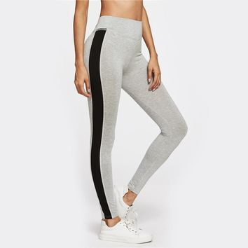 Contrast Panel Side Heather Knit Workout Leggings