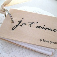 Je t'aime Notepad Mini wood notebook 3 x 2 je by quotesandnotes