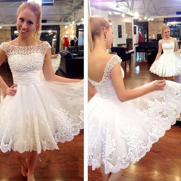 White Homecoming Dress, Lace Pearl Homecoming Dresseses