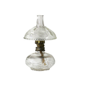 Old Oil Lamp, Clear Glass Lighting, Vintage Home Decor